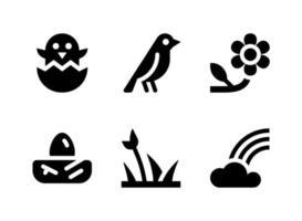 einfacher Satz von federbezogenen Vektorfestenikonen. enthält Symbole wie Kükenbrut, Vogel, Blume, Nest und mehr. vektor