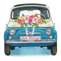 söt akvarell blå och vit blank vintage bil, bröllopsdag vektor