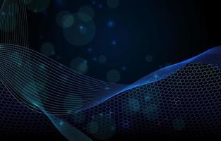 blauer geometrischer Wellenhintergrund mit Sechseck vektor