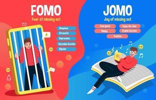 Unterschiede zwischen Fomo und Jomo Leben vektor
