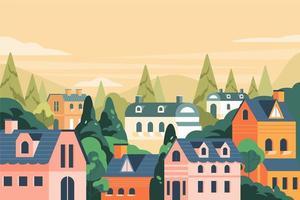 flaches Haus auf dem Hügellandschaftshintergrund