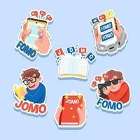 Fomo Jomo Lifestyle-Aufkleber vektor