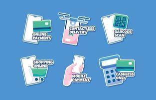 online shopping koncept klistermärke set vektor