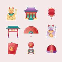 Aufkleberset mit chinesischem Neujahr vektor