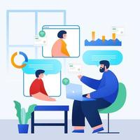 online möte arbetsform hem koncept