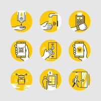 Kontaktlose kontaktlose Technologie-Symbole vektor