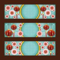 chinesische Neujahrsfahnenkollektion mit Laternen- und Blumenverzierungszusammensetzung vektor