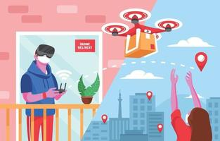 unaktives Konzept für die Lieferung berührungsloser Drohnen vektor