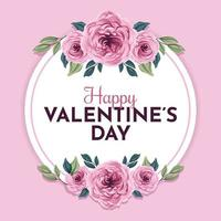 glad alla hjärtans dag med vacker blommaram vektor