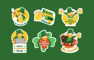St. Patrick's Day Kobold Aufkleber Set vektor