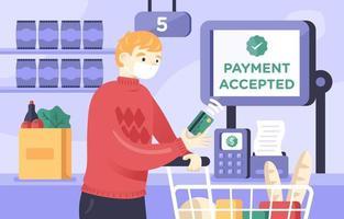 shopping man betalar med nfc kontaktlös teknik vektor