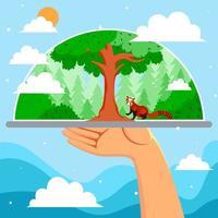 Tag der Erde mit der Pflege des Waldes vektor