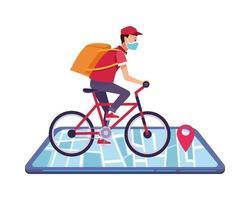 Smartphone mit Lieferanwendung und Arbeiter auf dem Fahrrad vektor