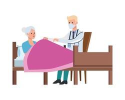 Arzt kümmert sich um alte Frau im Bett liegend vektor
