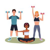 interracial idrottare som tränar tillsammans