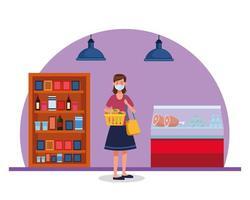 Frau, die im Supermarkt mit Gesichtsmaske einkauft vektor