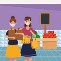 Frauen, die im Supermarkt mit Gesichtsmaske einkaufen vektor