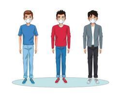 Männer mit Gesichtsmasken Zeichen vektor