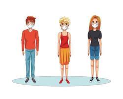 Personen, die Gesichtsmasken verwenden vektor