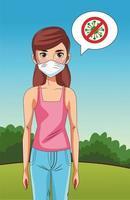 Frau mit Gesichtsmaske im Park mit Stop-Covid19-Zeichen vektor