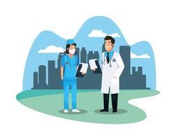 medizinische Charaktere von Krankenschwestern und Ärzten vektor