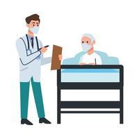 Arzt kümmert sich um alten Mann im Bett vektor