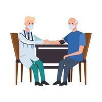 Arzt kümmert sich um alten Mann am Tisch vektor