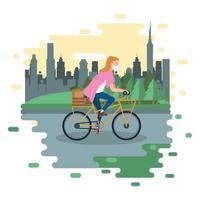 Frau, die Gesichtsmaske trägt und Fahrrad fährt vektor