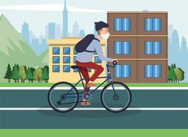 Mann, der eine Gesichtsmaske trägt und Fahrrad fährt vektor