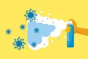 Hand mit Sprühflasche mit Desinfektionsmittel vektor