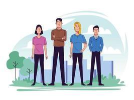 Gruppe junger Leute in der Landschaftsszene vektor