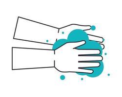 Hände waschen mit Seifenblasen vektor