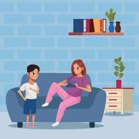 Mutter und Sohn bleiben zu Hause, um Covid 19 zu vermeiden vektor