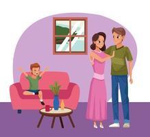 Eltern mit Sohn bleiben zu Hause vektor