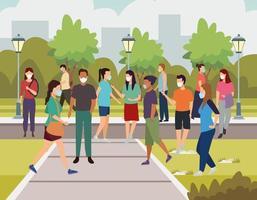 Gruppe junger Leute, die medizinische Masken auf der Straße tragen vektor