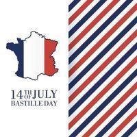 Bastille-Tagesfeierkarte mit Karte von Frankreich vektor