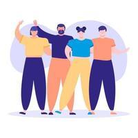 Freundschaftstag Feier mit jungen Menschen Charaktere vektor
