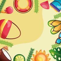 Sommerzeitdesign mit tropischen Ikonen vektor