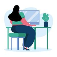 ung kvinna som använder datorn vektor