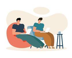 unga män som använder bärbara datorer som arbetar i vardagsrummet vektor