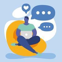 ung man som använder bärbar dator på soffan, social media-teknik vektor