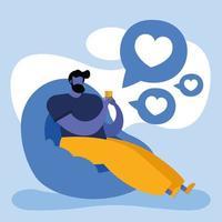 ung man som använder smarttelefonen på soffan, social media-teknik vektor