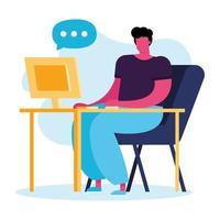 ung man använder datorn, sociala medier teknik vektor