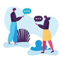 ungt par som använder smartphones, social media-teknik vektor