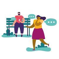 ungt par som använder smartphones i en park, social media-teknik vektor