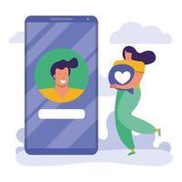 ung kvinna som använder smartphone, social media-teknik vektor