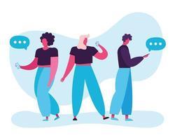 ungdomar som använder smartphones, teknik för sociala medier vektor
