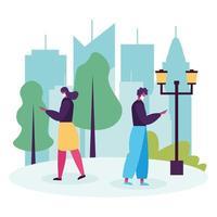 junges Paar zu Fuß und mit Smartphones Avatare Zeichen vektor