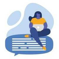 ung kvinna som använder bärbar dator, social media-teknik vektor