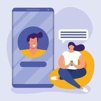ung kvinna som använder en smartphone i soffan, social media-teknik vektor